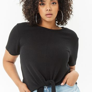 Plus Size Tie-Front Hem Top