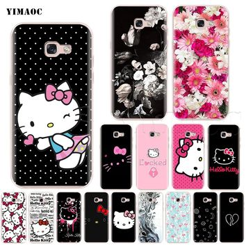 YIMAOC Hello Kitty Silicone Case for Samsung Galaxy S7 S8 S9 Edge Plus J3 J5 J7 A5 A6 A8 Note 8 9