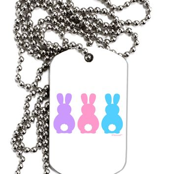 Three Easter Bunnies - Pastels Adult Dog Tag Chain Necklace by TooLoud