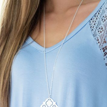 Moroccan Style Necklace in Silver | Monday Dress