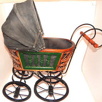 Victorian Doll Carriage German Style Pram Antique 1920's Baby Buggy Girls Toy