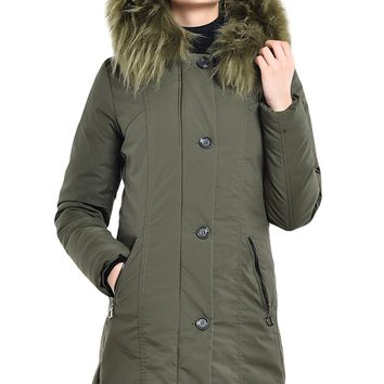 Fur Hooded Winter Rookie Army Green Parka Jacket
