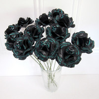 "40th Birthday   40 and Fabulous Personalized Paper Roses Black  Turquoise or Custom Colors for any Event with Stems 2.5"" Diameter  Set of 12"