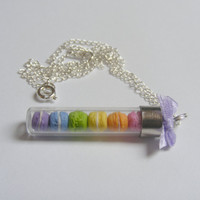 Rainbow Macaroons Miniature Food Necklace Pendant  by NeatEats