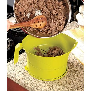 Heat Resistant Dishwasher Safe Grease Strainer Colander & Holder