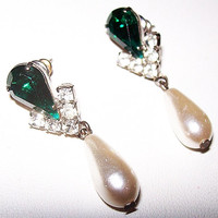 "Pearl Drop Dangle Earrings Emerald Green & Clear Rhinestones Pierced Ears 1.5"" Vintage"