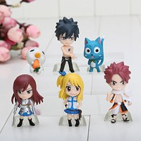 6cm Anime Fairy Tail 1Set 1Set=6pcs PVC Figure Model Natsu / Gray / Lucy / Erza Retail