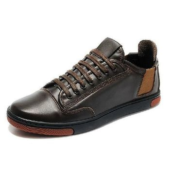 Genuine Leather Casual Sneakers Lace Up Men's Flats