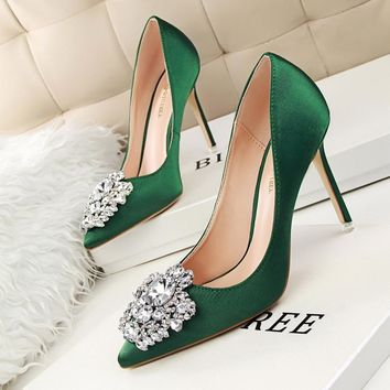 New Spring Summer Women Pumps Elegant Buckle Rhinestone Silk Satin High Heels Shoes He