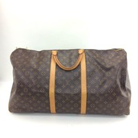 Auth Louis Vuitton Monogram Canvas leather Keepall 60 Travel bag