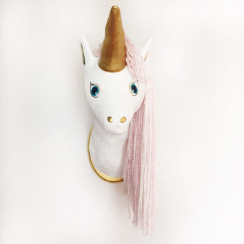 Faux Taxidermy Unicorn, Animal Head, Unicorn Head, Faux Taxidermy, Unicorn Decor, Nursery Decor, Kids Decor, Wall Decor, Wall Sculpture,