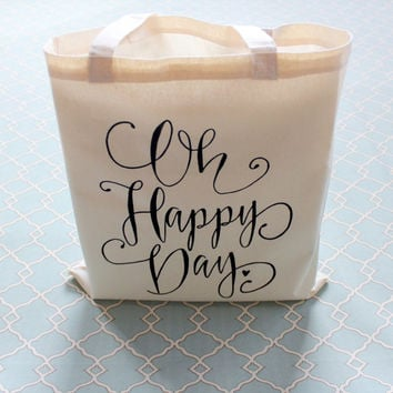 Oh Happy Day Tote Bag Gift Bag Wedding Welcome Bag