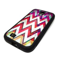 Samsung Galaxy S4 SIV Case Cover Grunge Chevron Red Design Christmas Hipster Design Black Rubber Silicone Teen Gift Vintage Hipster Fashion Design Art Print Cell Phone Accessories