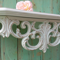 Large Vintage Shabby Chic Rustic Ornate French Wall Shelf Painted Antique White Distressed