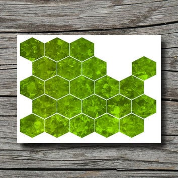 Peridot geometric decor, gemstone art, office decor, bedroom bathroom, living room, hexagon, lime green yellow, August birthstone, geode
