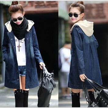New Winter slim berber fleece liner slim drawstring waist hooded denim wadded jacket thickening outerwear female