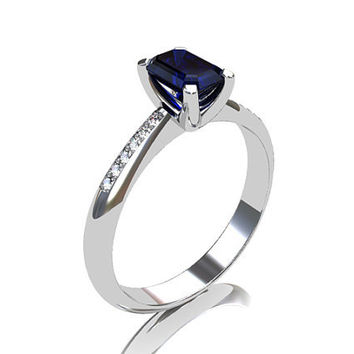 Blue sapphire ring, Diamond, emerald cut sapphire, solitaire, engagement ring, Diamond engagement, blue, emerald cut