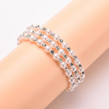 Luxurious Korean Temperament OL Silver Plated Full Rhinestone Simulated Pearl Bracelets Multilayer Winding Wide Bangles SM6