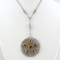 Antique Art Deco Sterling Silver Czech Glass Lavalier Pendant Necklace Vintage Large Amber Glass Filigree Flower Silver Pendant Jewelry