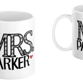 His Hers Mr. Mrs. Wedding Mug Gift Set Custom Personalized Set Bridal Shower House Warming Gift Bridesmaids Diamond Bow Tie Illustration