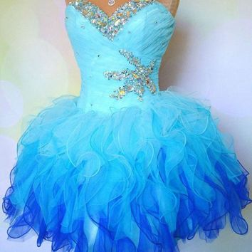 Fantastic A-line Sweetheart Neck Strapless Beaded Ombre Tulle Homecoming Dresses,Hot 28