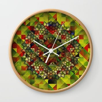 Mandala in structure pattern Wall Clock by Jeanette Rietz
