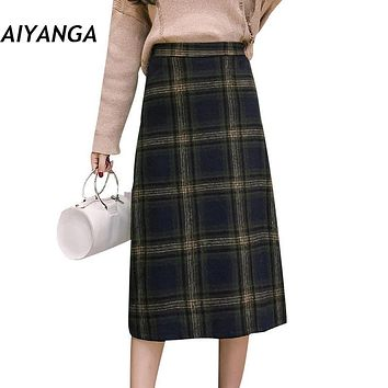 New 2017 Autumn Winter Female Medium Long Woolen Plaid Skirts England Style Elastic Waist Check Skirts For Women Big Size