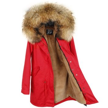winter jacket brand style women's red blue long detachable lining Large color raccoon fur hooded coat parkas outwear
