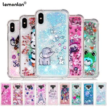 Luxury Dynamic Liquid Quicksand Phone Case For iPhone X 7 8 6 6S Plus Cover Cartoon Silicon Cover Cases For iPhone 5 5s SE Coque