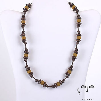 VujuWear Amber Glass and Wood Beads Leather Necklace