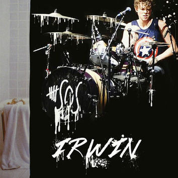 "5sos Ashton irwin Custom Shower Curtain available size 66"" x 72"", 60"" x 72"",48"" x 72"""