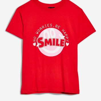 'Smile' Slogan Motif T-Shirt