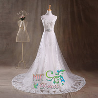A-line sweetheart tulle with appliques sashes with beads wedding dress with chapel train