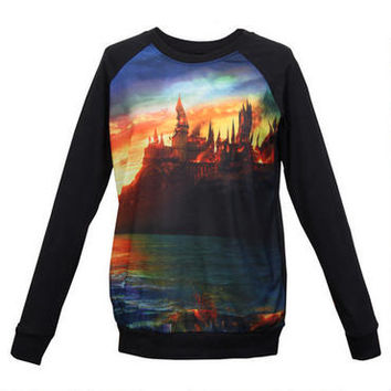 Hogwarts Burning Juniors Long Raglan Sleeve Black T-Shirt | HarryPotterShop.com