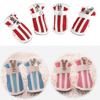 4 Pieces/Lot Dog Puppy Cat Pet Cozy sneakers Stylish Mesh PU Boots Booties Sneakers Pu