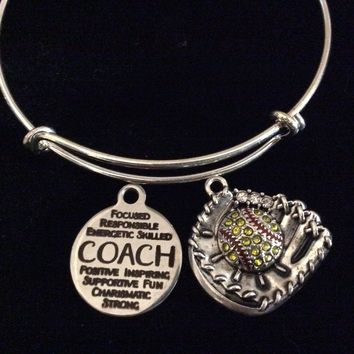 Softball Coach Gift Adjustable Charm Bracelet Silver Crystal Mitt Softball Expandable Bangle Bracelet Sports Team Gift