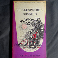 William Shakespeares Sonnets A Beautiful Purple Pink Old Vintage Paperback Book Doubleday Dolphin Poetry Poems Classics