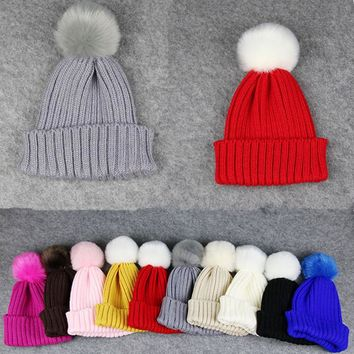 BONJEAN 10 Colors kids winter warm knitted hats crochet Cute girls beanies Caps bonnet fur pompons hats for babies Toddler red