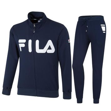 FILA autumn and winter new trend men's casual sports cardigan casual trousers sports two-piece Blue