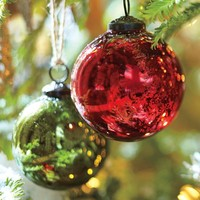 Mercury Glass Ball Ornaments - Red & Green, Set of 6