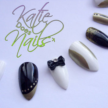 Press on False nails - Classy black, white and gold, Stiletto fake nails with bows