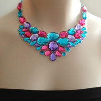 bib necklace - hot pink, turquoise rhinestone unique necklace, bridesmaids, prom, wedding necklace gift or for you NEW