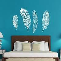 Wall Decal Feather Beautiful Feathers Vinyl Sticker Decals Home Decor Bedroom Art Design Interior NS963