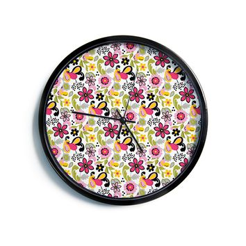 "Carolyn Greifeld ""Pretty Florals"" Pink Yellow Modern Wall Clock"