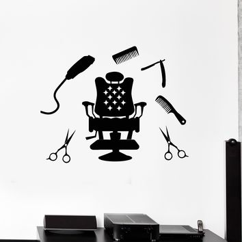 Vinyl Wall Decal Hairdressing Hair Salon Tools Barbershop Stylist Stickers Mural Unique Gift (ig5198)