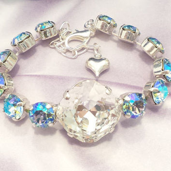 BLUE HAWAIIAN ICE, swarovski bracelet, diamond crystal, 8mm, 18mm, ab stones, stunning, popular, designer inspired, dksjewelrydesigns