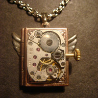 Steampunk Neo Victorian Watch Movement LOCKET Necklace with Wings (525)