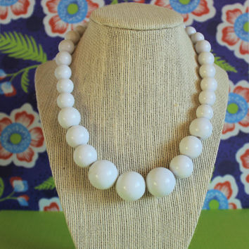 Vintage White Lucite Gumball Necklace