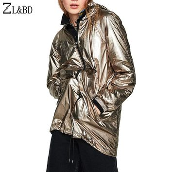 ZL&BD casaco feminino Plus Size Shiny Metallic Color Women Jackets and Coats Casual Hooded Loose Waterproof Bomber Jacket ZA680