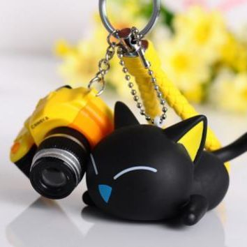 1 pc Gold Tone 3D Cute Creative Black Cat Keychain 13 Styles